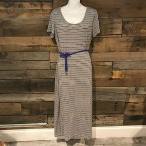 Calvin Klein gray/purple stripe maxi dress